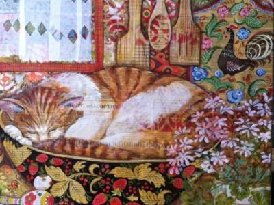 Cat lying in frail